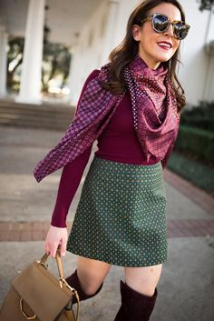 burgundy silk scarf and jacquard mini skirt // fall print mix by fashion blogger // http://fashionandfrills.com/3-retailers-that-offer-store-pickup/