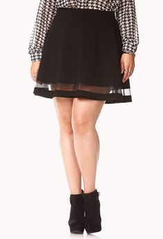 Forget Me Not Skater Skirt | FOREVER21 PLUS You'll be unforgettable in this skirt #Sheer #SkaterSkirt #OrganzaStripe