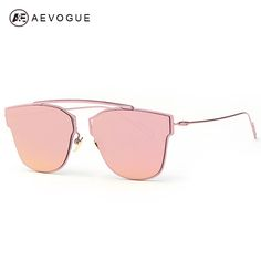 AEVOGUE Women's Sunglasses Metal Frame Reflective Coating Mirror Flat Panel Lens Brand Designer Sun Glasses Oculos De Sol AE0329