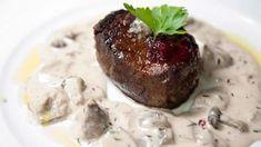 Close up of fresh grilled beef. Steak with cream mushroom sauce on white plate , Steak Cream Sauce, Brandy Cream Sauce, Mushroom Cream Sauces, Mushroom Sauce, How To Grill Steak, Beef Steak, Veggie Recipes, Gourmet Recipes, Creamed Mushrooms