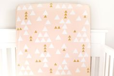 Little Woolf Fitted Crib Sheet in Blush and Gold Triangles, Baby Girl Nursery, Tribal Bedding, Geometric, Aztec, Triangle, Teepee by littlewoolf on Etsy https://www.etsy.com/listing/183639070/little-woolf-fitted-crib-sheet-in-blush