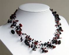 Items similar to Red Garnet, Onyx necklace floating pearls and beads multistrand necklace invisible illusion natural freshwater pearl gemstone beads on Etsy Onyx Necklace, Multi Strand Necklace, Beaded Necklace, Pearl Gemstone, Gemstone Beads, Baroque Pearls, Red Garnet, Beautiful Necklaces, Illusions