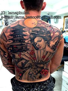 Japanese full back tattoo Gaisha tattoo