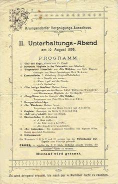 Programm des II. Unterhaltungs-Abends am 19. August 1899 Sheet Music, History, Love Songs, Underworld, Healing, Historia, Music Sheets