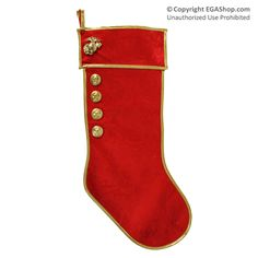 Christmas Stocking: Red/Gold, Marine Corps