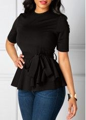 Belted Round Neck Black Short Sleeve Blouse