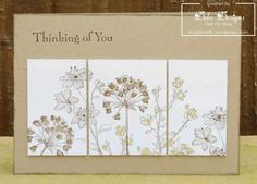 handmade card: Thinking of You ... monochromatic kraft ... like the flowers stamped in kraft tones .. three split panels ... cut apart after stamping ... pleasing look ...
