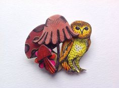 Owl Brooch  cute forest fairytale quirky unique by Slumbermonkey