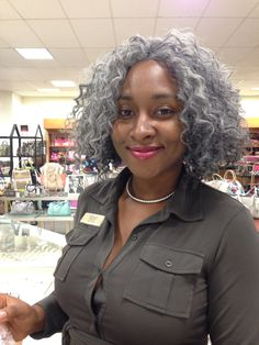 I was at the mall today and this stunning beauty caught my eye. She was not only beautiful on the outside but on the inside as well. Her name is Sherlyn and she's 30 years old. Sherlyn only has some gray but decided to dye it all a couple months ago to help with the transition for when it really grows out. Although,she says she has a few gray patches she also did it to embrace the gray and encourage others as well Her advice is go for it!