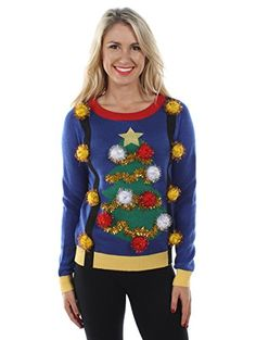 Ugly Christmas Sweaters - Tipsy Elves Women's Tacky Christmas Sweater - Christmas Tree Sweater with Suspenders M Blue Best Ugly Christmas Sweater, Christmas Sweaters For Women, Blue Christmas, Christmas 2016, Holiday Sweaters, Christmas Clothing, Holiday Clothes, Christmas Time, Christmas Decor