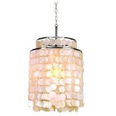 Capiz Chandelier - Hampton Bay Razzari 1-Light Hanging Chrome Pendant-16665-016 at The Home Depot