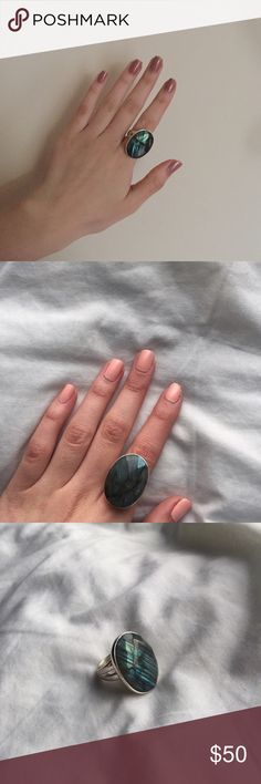 SALE | 🎉 Host pick 🎉 Stella & dot odyssey ring Odyssey - Labradorite ring from Stella & Dot. Worn for photos only but it does have some minor scratches. Can be adjusted to fit ring sizes 5-9. No trades. Stella & Dot Jewelry Rings
