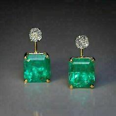 Vintage Russian Emerald Diamond Two Color Gold Earrings - Antique Jewelry Emerald Earrings, Emerald Jewelry, Antique Earrings, Women's Earrings, Antique Jewelry, Vintage Jewelry, Emerald Diamond, Diamond Studs, Emerald Cut