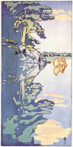 Walter J. Phillips (1884-1963) Crowe's Island, Lake of the Woods, 1919 colour woodcut on paper