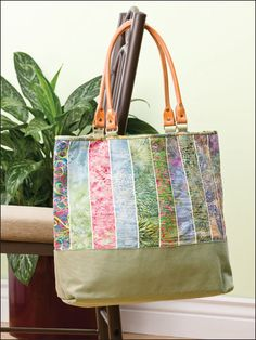 Jelly Roll Tote Sewing Pattern Download from e-PatternsCentral.com -- Precut jelly roll packs offer color coordinates perfect for this foldable shopping tote.