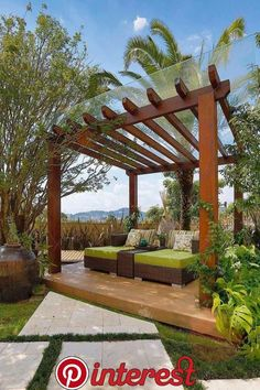 Gazebo, Pergola or Cabana? Which is the best choice for your backyard? Looking to add some shade and privacy to your backyard? Why not try a pergola, Backyard Patio Designs, Backyard Pergola, Pergola Shade, Pergola Designs, Pergola Kits, Backyard Landscaping, Pergola Carport, Carport Designs, Carport Ideas