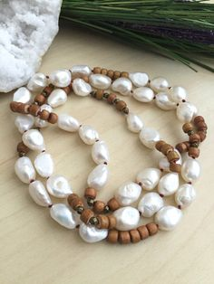 Large Freshwater Pearl and Wood Necklace Hand knotted Red Silk Hippy Baroque pearl Mala Pearl Wooden Boho Mala Layering by Girlwiththepearl