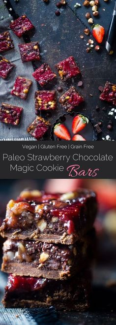 Strawberry Chocolate Paleo Magic Cookie Bars - These magic cookie bars have a sweet strawberry swirl and are SO easy to make! They're a healthy, vegan friendly and gluten free remake of the classic recipe that everyone will love!   http://Foodfaithfitness