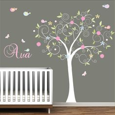 Pretty wall decal- want to change the pink to lavender
