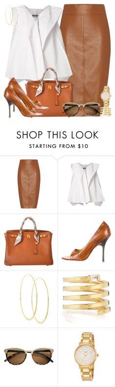 """Office Lady"" by dazzlious ❤ liked on Polyvore featuring Bailey 44, Issey Miyake, Hermès, Giuseppe Zanotti, Lana, Jennifer Zeuner and Kate Spade"