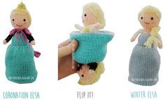 FROZEN Elsa Flip Doll by Raynor Gellatly - This pattern is available for free. A knitting pattern for fans of the Frozen movie. This Elsa Doll flips from her coronation dress into her winter dress.