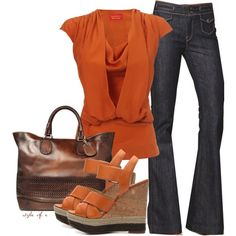 """Pumpkin"" by styleofe on Polyvore  Love it but I would wear it with brown boots."