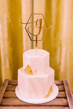 Colorful and Geometric Inspired Tiered Wedding Cake with Laser Cut Monogram Cake Topper Wedding Gold, Summer Wedding, Unique Weddings, Real Weddings, Apopka Florida, Monogram Cake Toppers, Orlando Wedding, Winter Park, Pink Marble