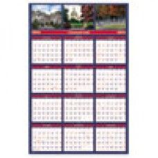 Desk Supplies>Desk Set / Conference Room Set>Holders> Calendar Holders: US Monuments Reversible/Erasable Yearly Wall Calendar, 24 x 37, 2016