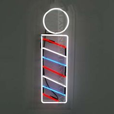 neon sign - barber pole x