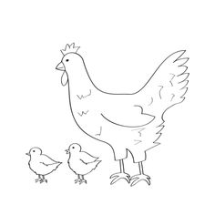 Hen and Chick coloring template for pre-K and kindergarten kids - from www.kigaportal.com