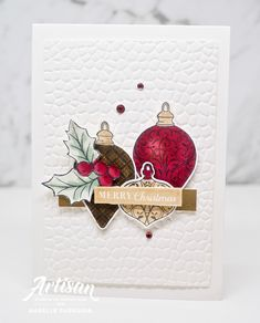 Stampin Up Christmas Gleaming bauble bundle Homemade Christmas Cards, Stampin Up Christmas, Christmas Cards To Make, Christmas Baubles, Xmas Cards, Christmas Greetings, Handmade Christmas, Homemade Cards, Holiday Cards