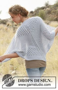 """DROPS 129-37 - Knitted DROPS shawl with pattern in """"Alpaca"""" and """"Kid-Silk""""."""