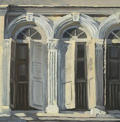 Shophouse No. 94 Oil on Panel Original Painting