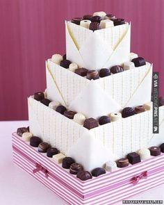A chocolate-sampler-inspired wedding cake   VIA #WEDDINGPINS.NET