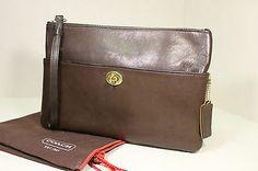 Collectible Vintage COACH Cashin Brown CLUTCH BAG HANDBAG PURSE Rare HTF NYC