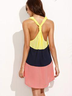 Shop Color Block V Neck Sleeveless Shift Dress online. SheIn offers Color Block…