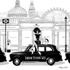 """LONDON FASHION WEEK is in full swing! Little black dresses and little black cabs!!"""