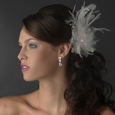 Stunning Feather & Rhinestone Flower Bridal Hair Clip