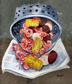 Shrimp Boil Painting  - Shrimp Boil Fine Art Print