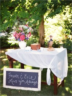 Lets do a memory table with pictures Of their past we could frame them and make them all different sizes and have a whole table devoted just to memories. Garden Wedding, Diy Wedding, Wedding Day, Wedding Reception, Table Wedding, Forest Wedding, Woodland Wedding, Reception Ideas, Farm Wedding