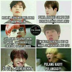 Foto Meme, Memes Funny Faces, Bts Quotes, K Idol, Album Bts, Namjin, Foto Bts, Funny Moments, Bts Memes