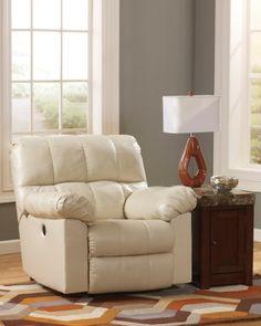 Ashley Kennard Leather Match Rocker Recliner in Cream  http://www.furnituressale.com/ashley-kennard-leather-match-rocker-recliner-in-cream/