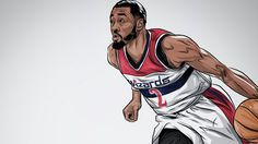 Washington Wizards point guard John Wall looking quick fast in this illustration by Robert Generette III from Washington DC. Basketball Leagues, Sports Basketball, Sports Art, Basketball Players, Basketball Stuff, Nba League, John Wall, Nba Wallpapers, Sports Graphics