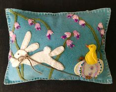 Vintage Inspired Easter Bunny and Baby Chick Wool Felted Appliqué Pillow made by ME :)