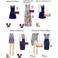 Wedding Weekend Travel Capsule Wardrobe- Outfit Ideas. This is a great special occasion weekend capsule. I would probably swap out the light colored pants for a navy ankle pant. Sure as shootin' I would get a spot on those pants on the plane.