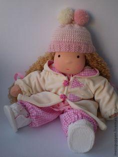 Купить Мона ,36 см - розовый, натуральные материалы, вальдорфская кукла, трикотаж, подарок, девочка