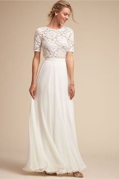 White long dress lace prom dress women chiffon short sleeve maxi party dress -no. Half Sleeve Wedding Dress, 2 Piece Wedding Dress, Casual White Wedding Dress, Wedding Dress For Short Women, Dress Casual, Casual Outfits, White Maxi Dresses, Dresses With Sleeves, Half Sleeves