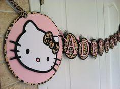 Hello Kitty Leopard print Birthday Banner by PartiesbySandraDee, via Etsy. Hello Kitty Theme Party, Hello Kitty Themes, Hello Kitty Birthday, First Birthday Party Themes, Birthday Ideas, 2nd Birthday, Birthday Banners, Decoracion Hello Kitty, Animal Print Party