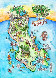 Watercolor series of illustrated maps of the islands of Seychelles by Stephannie Souffe for Roots Seychelles.