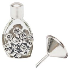 French Deco Sterling Silver and Glass Traveling Perfume Bottle and Funnel | From…